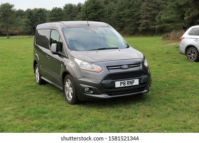 30th November 2019- A stylish Ford Transit Conect van in a public parking area in Pembrey Country Park, Carmarthenshire,Wales, UK.