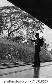 30th October 2017, unknown man is waiting for the train at Jerantut Train Station which is located in Pahang