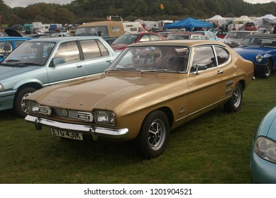 30th September 2018- A classic Ford Capri Mk1 1600 at a vintage vehicle show in Pembrey Country Park near Llanelli, Carmarthenshire, Wales, UK.