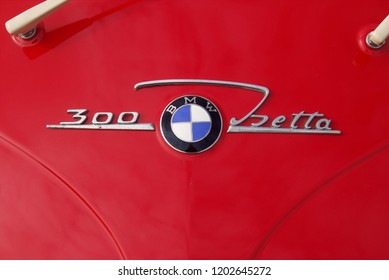 30th September 2018- The name badge on a BMW Isetta 300 bubble car being displayed at a classic car show in Pembrey Country Park near Llanelli, Carmarthenshire, Wales, UK.