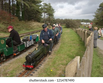 30th September 2018- A passenger service running on the miniature railway in Pembrey Country Park near Llanelli, Carmarthenshire, Wales, UK, during a vintage vehicle show.