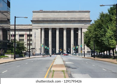 30th Street Station in Philadelphia, Pennsylvania. Major railroad station.