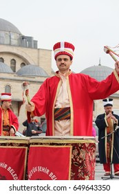31 January 2014, Konya, Turkey. Mehter in Ottoman times can be seen during the event a team of musicians dressed like.