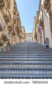 31 July 2013 - Caltagirone - (Italy) Famous Caltagirone stairway - Sicily