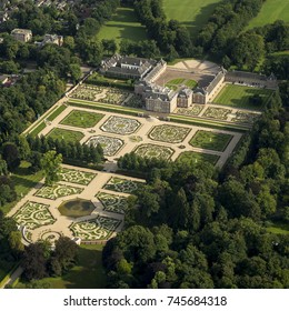 31 July 2017, Apeldoorn, Holland. Aerial view of Royal Palace Het Loo. The castle was built in the 17th century and King and Queen used to live here. Now it's a museum baroque ornamental gardens.
