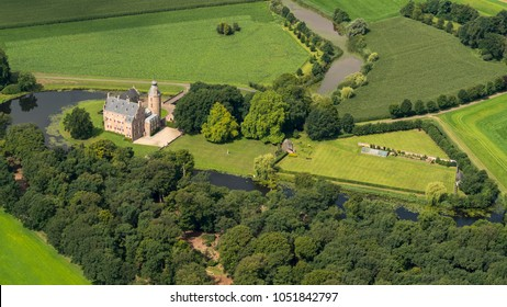 31 July 2017, Dalfsen, Holland. Aerial view of historic medieval castle Rechteren. A large estate with a beautiful garden surrounded by a moat in the province of Overijssel.