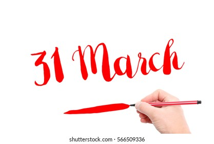 31 March written by hand on a white background