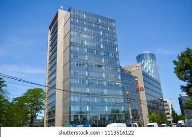 31 May 2018-Bucharest, Romania. The PWC building in the Aurel Vlaicu neighbourhood in Bucharest, Romania