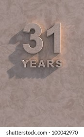 31 years 3d text with shadow and copy space