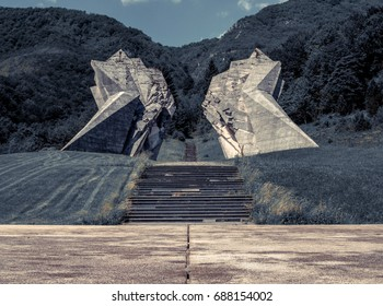 31.05.2017 Sutjeska National Park, Tjentiste, Bosnia and Herzegovina. Old Monument that was build in memorial of those circa 3000 soldiers that died here fighting Nazi German army.