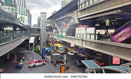 31/07/2019: In the evening, after finish work there was going rain, gray cloud at Asok Montri Road , it's  a major road junction known as Asok Intersection, there was a problem of traffic always even