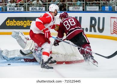 31.08.2017. RIGA,LATVIA.  Dmitry Kalinin (L) and Brandon McMillan (R) KHL 2017/2018 season first home game Dinamo Riga vs. HC Spartak Moscow
