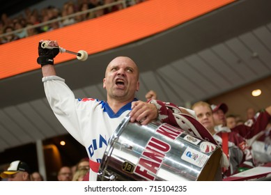 31.08.2017. RIGA,LATVIA. Fan of  Dinamo Riga with drums in action during KHL 2017/2018 season first home game Dinamo Riga vs. HC Spartak Moscow