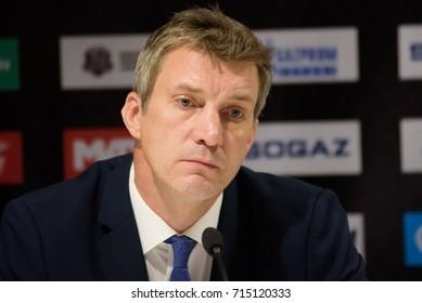31.08.2017. RIGA,LATVIA. Sandis Ozolins, head coach of team Dinamo Riga. KHL 2017/2018 season first home game Dinamo Riga vs. HC Spartak Moscow
