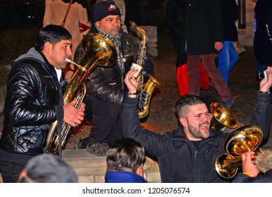 31.12.2017. Traditional Serbian street party with gipsy trumpeters and people dancing, Skadarlija Belgrade, Serbia
