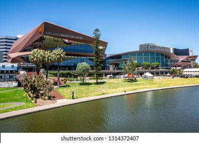 31st December 2018, Adelaide South Australia : Adelaide convention centre on riverbank and Torrens river view in Adelaide SA Australia