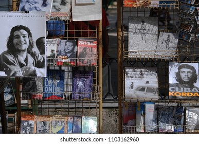 31st of October 2013 - -Scene from Cuban city with close up of shelves with revolutionary books at a city market, Havana, Cuba