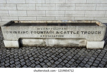 31st October 2018 Dublin.  A drinking fountain and cattle trough in Smithfield Square, Dublin.