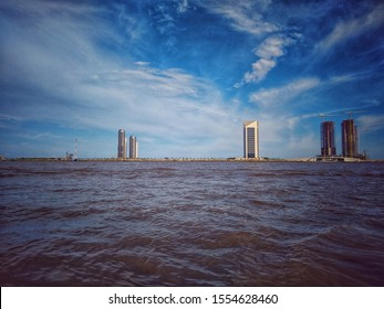 31st October, 2019 Victoria Island, Lagos, Nigeria: Eko Atlantic City from Takwa Bay.