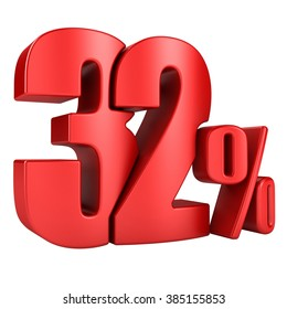 32 percent 3D in red letters on a white background