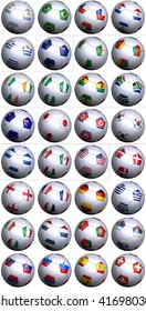 32 soccer balls of the competing nations in the Soccer World cup in South Africa 2010. Separated by continents and  in alphabetical order.