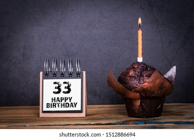 33 Happy Birthday. Cake with candle