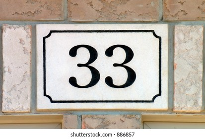 33 on a plaque