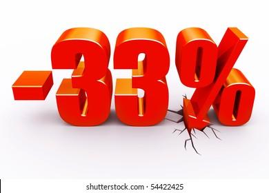33 percent discount with arrow hitting floor