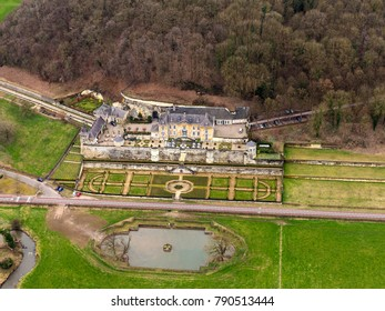 3-3-2017 Maastricht, Holland. Aerial view of Michelin Star Restaurant Chateau Neercanne. It is an old castle built at mountain Cannerberg.