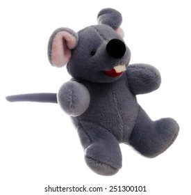 3/4 view of generic stuffed toy mouse isolated on white