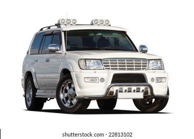 3/4 view of tuned luxury SUV isolated on white
