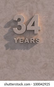 34 years 3d text with shadow and copy space