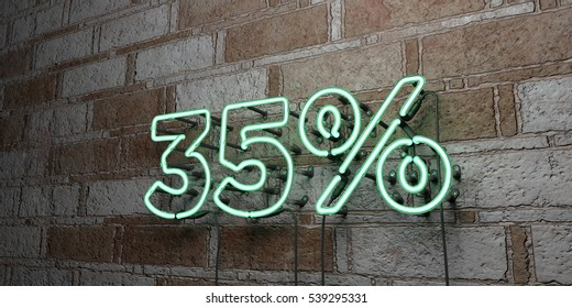 35% - Glowing Neon Sign on stonework wall - 3D rendered royalty free stock illustration.  Can be used for online banner ads and direct mailers.