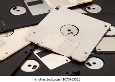 3.5 inch computer floppy disks layer - vintage storage media technology background