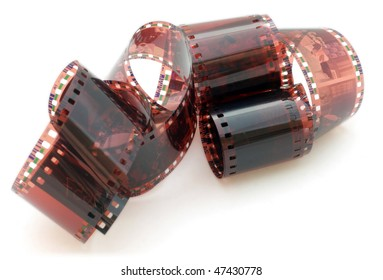 35 mm negative film isolated in white background