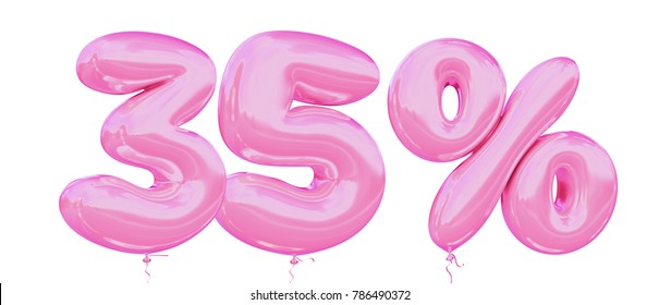 35% off discount promotion sale made of realistic 3d Pink helium balloons. Illustration of balloon percent discount collection for your unique selling poster, banner ads; Valentine's day sale and more