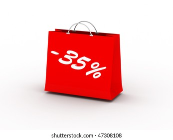 35% off. Red package isolated on white background. High quality 3d render.