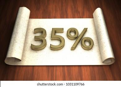 35 per cent, golden numbers, over open paper, 3d rendering