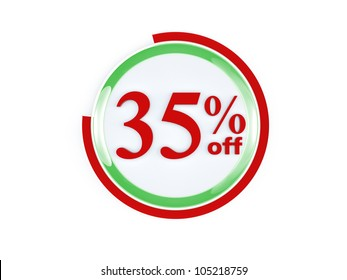 35 percent off glass isolated on white background