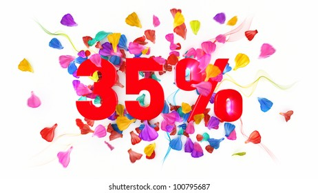 35 percent off on white isolated background full with colored petals