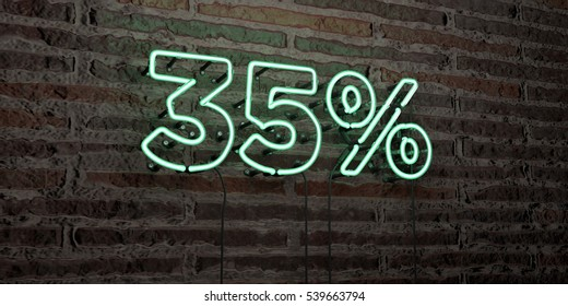 35% -Realistic Neon Sign on Brick Wall background - 3D rendered royalty free stock image. Can be used for online banner ads and direct mailers.