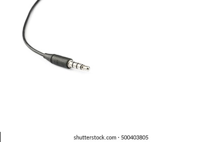 3.5mm cable male jack on white isolate background.