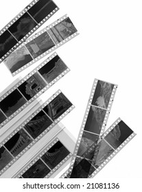 A 35mm contact sheets strip of black and white negative film with my photos