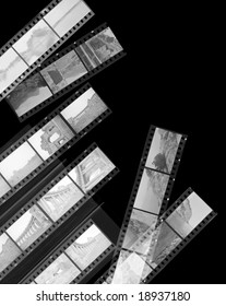 A 35mm contact sheets strip of invert black and white negative film with my photos