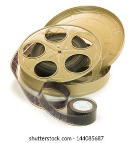 A 35mm film in a metallic golden reel and its can, isolated over white, with clipping paths