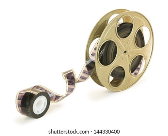 A 35mm film in a metallic golden reel, isolated over white background, with clipping paths