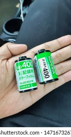 35mm Film Rolls   2019: Two 35mm roll film before submitted to Snap's film development lab in Bandung, in July 2019. 35mm or 135 are popular size of analog film used by analog photography enthusiast.