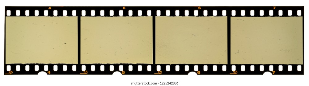 35mm film strip on white, real scan