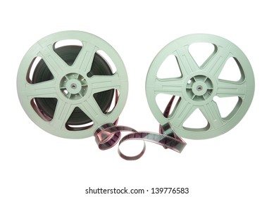 A 35mm film in two plastic reels, isolated over white background, with clipping path
