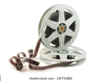 A 35mm film in two reels, isolated over white, with clipping path